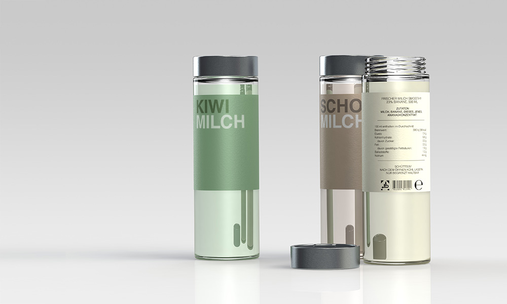 a rendering of three smoothy bottles (glass bottles with very graphic labels)