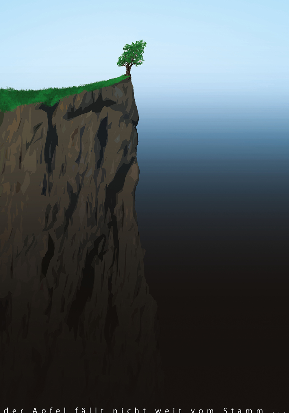"A poster saying ""the apple does not fall far from the tree"" – showing an apple tree at the edge of a steep cliff"