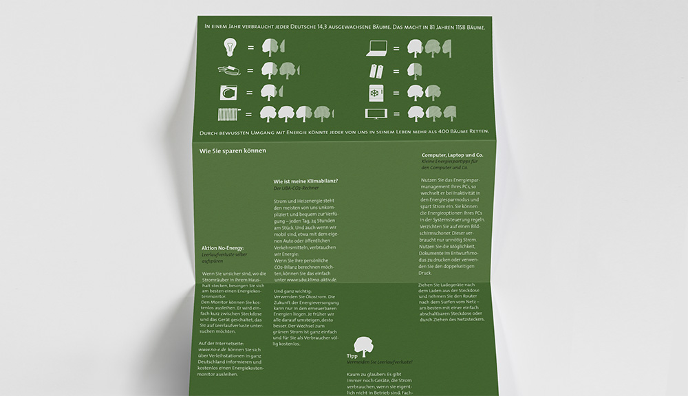 a green folded leaflet giving advice on how to save energy (flat graphics and text)