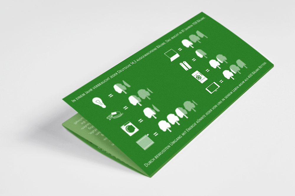 the front of a folded leaflet, on green background a series of white graphics give advice how much energy can be saved