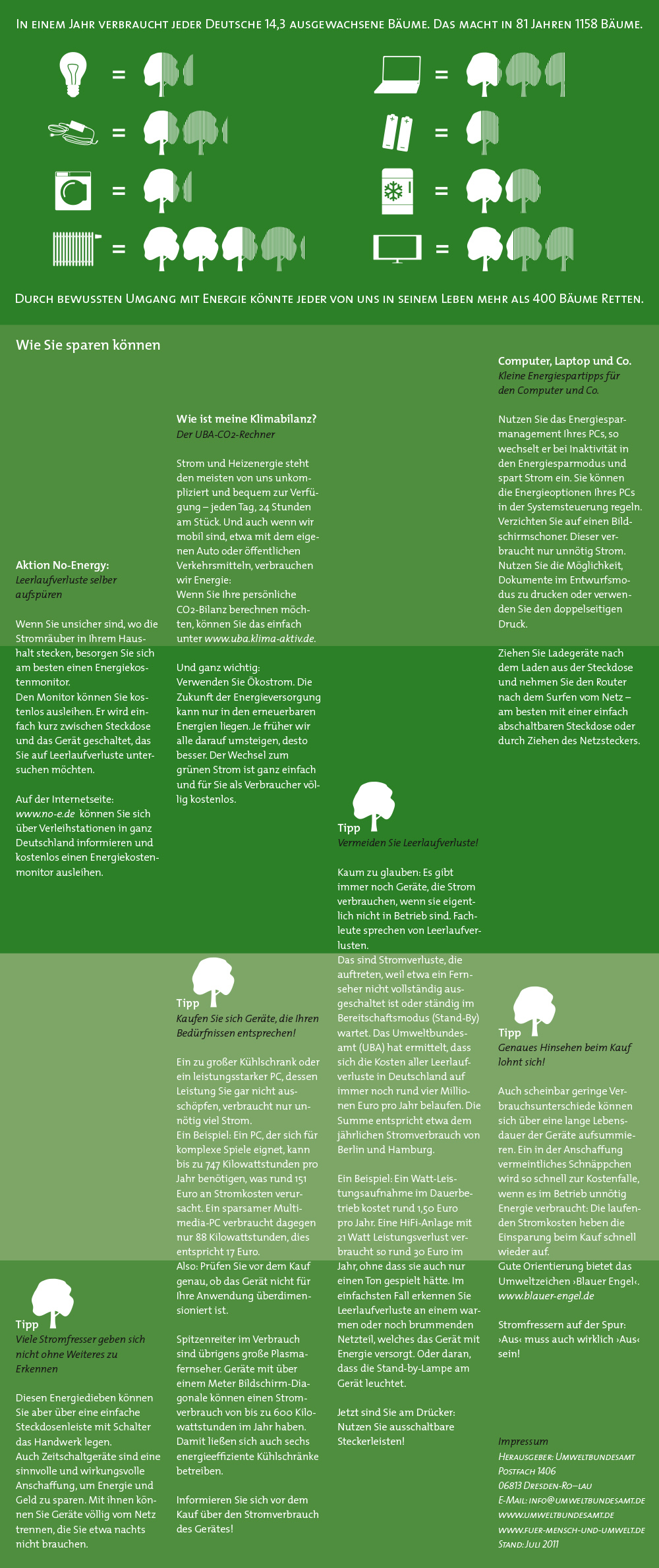 a whole leaflet showing advice on how to save energy