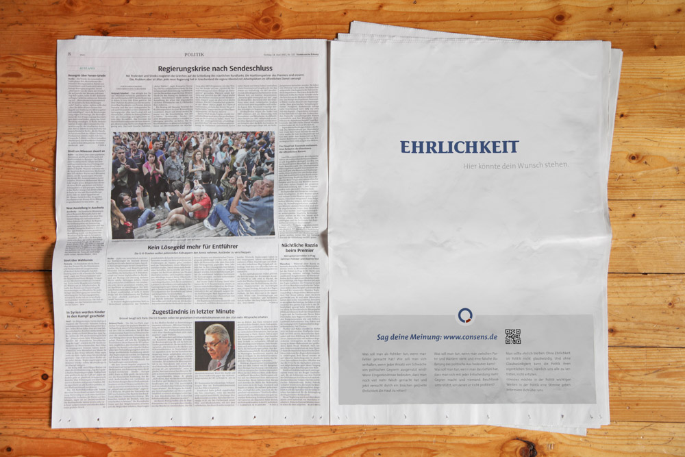 simulation of a consens ad in a newspaper