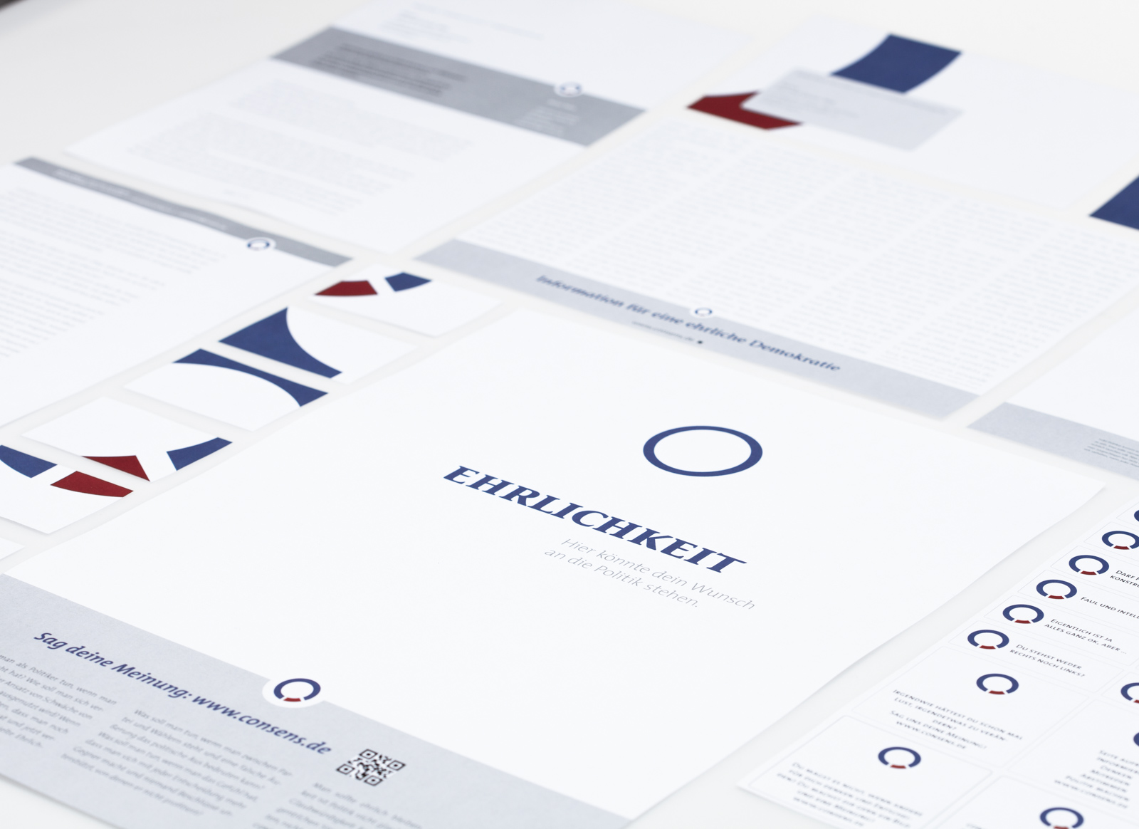 beauty shot of consens communication and identity material