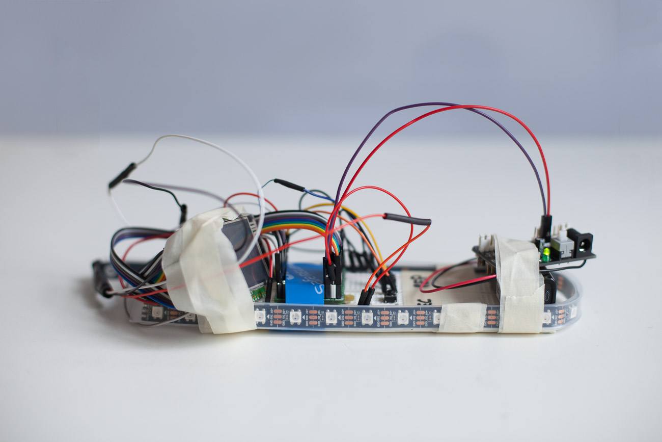 prototype – all cables, batteries and breadboard